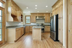 Match cabinets to hardwood flooring